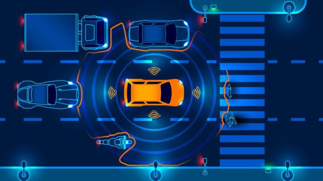 Concetto di veicoli a guida autonoma