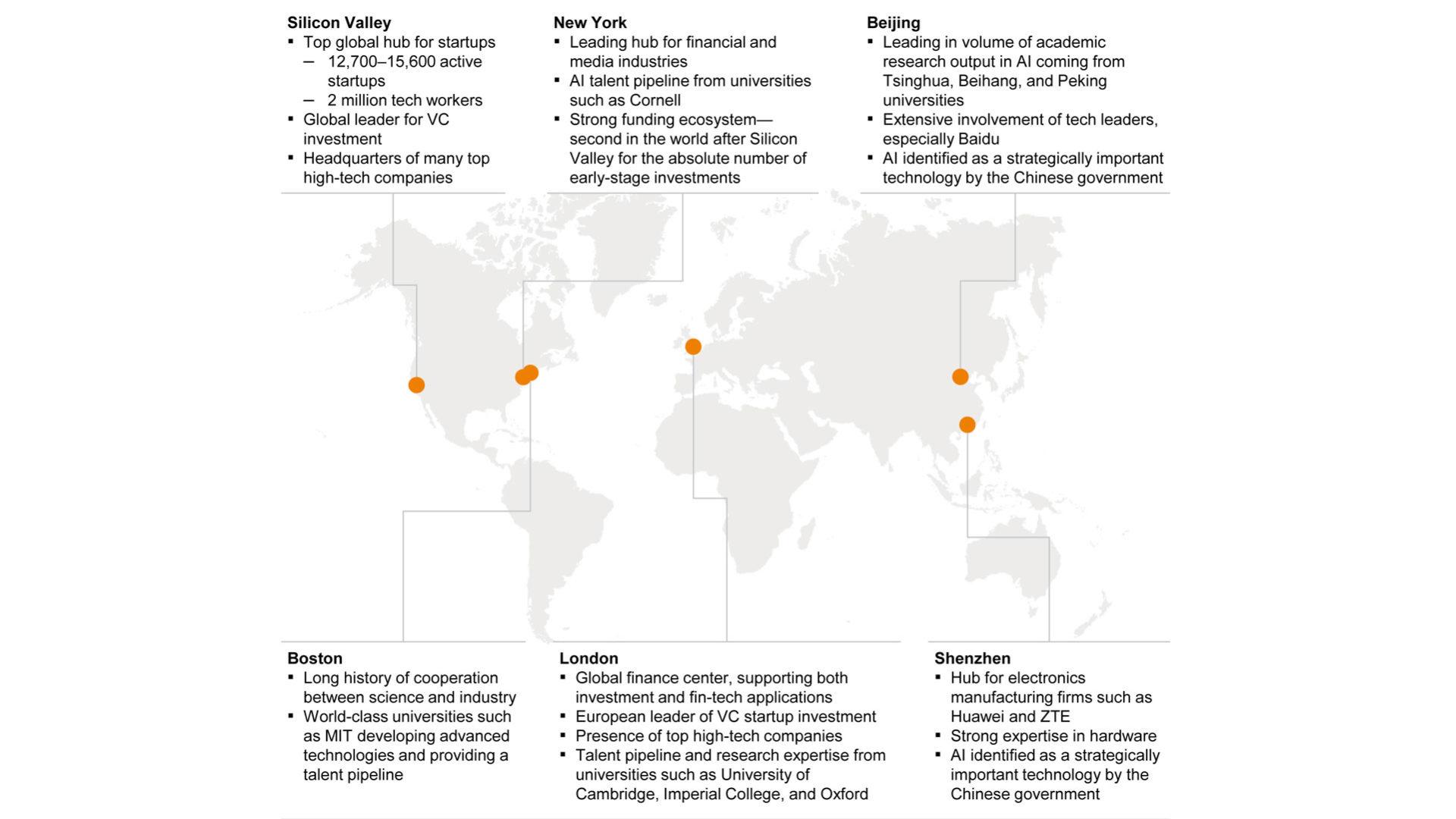 Grafico: Gli innovation hub che nel mondo si occupano di intelligenza artificiale parte 1