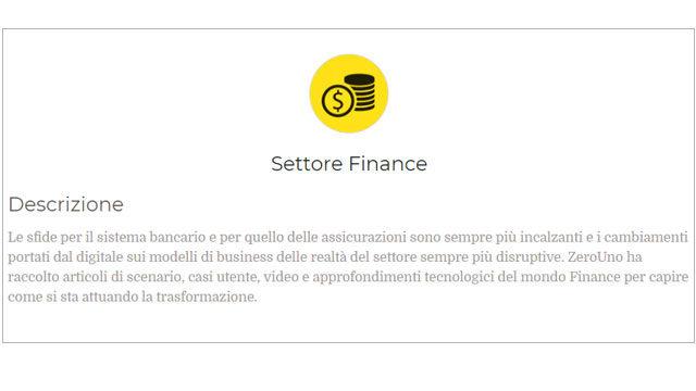 Immagine sul Settore Finance