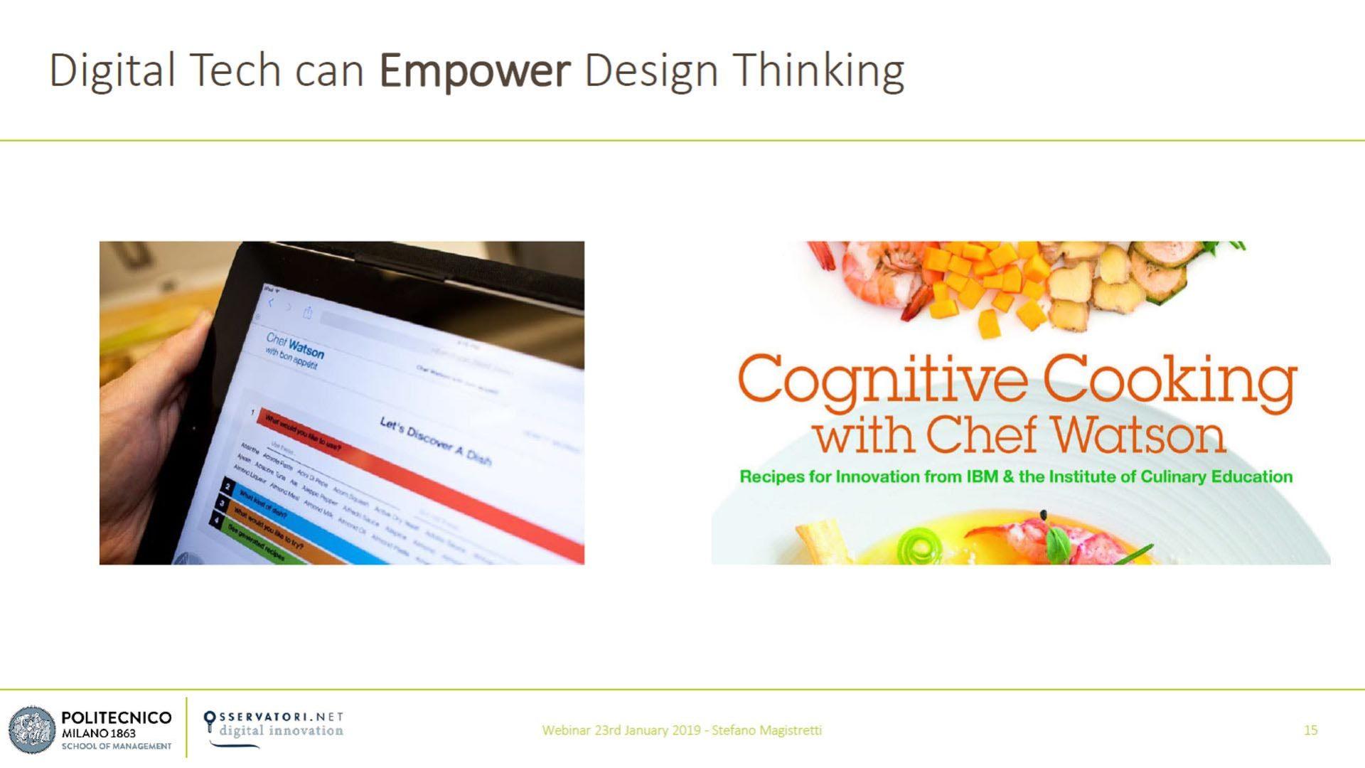 Figura 3 - La tecnologia digitale può potenziare il Design Thinking – Il caso Chef Watson - Fonte: Osservatori Digital Innovation del Politecnico di Milano