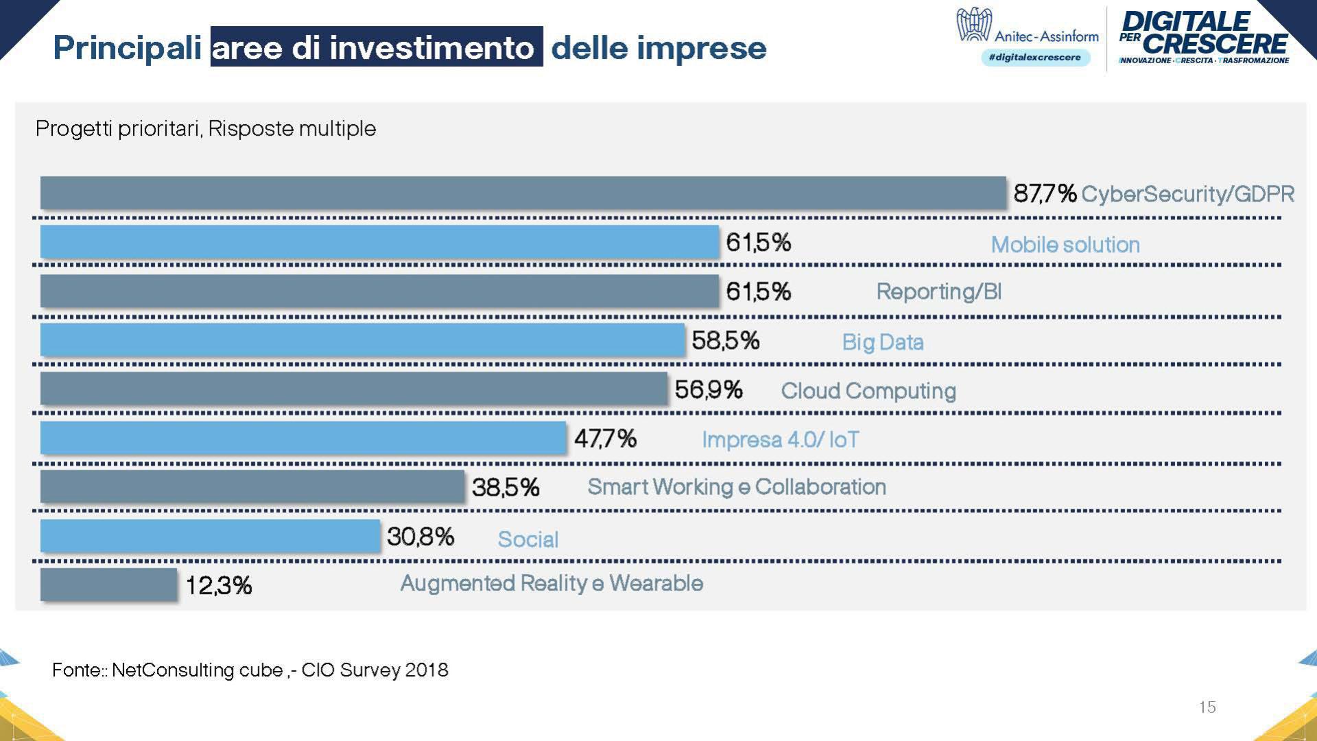 Grafico Aree di investimento previste nel 2019