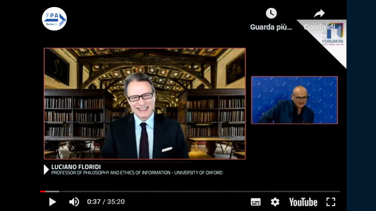 Luciano Floridi, Professor of Philosophy and Ethics of Information - University of Oxford al Forum PA 2020